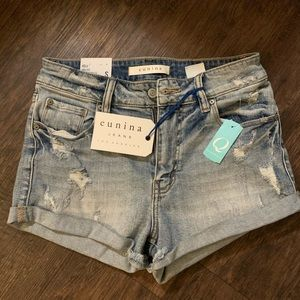 Pants - High rise rolled jean shorts